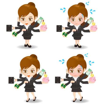caricature: cartoon illustration set of Business woman busy, business, money