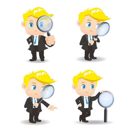 man full body: cartoon illustration set of Business man with magnifying glass, observation