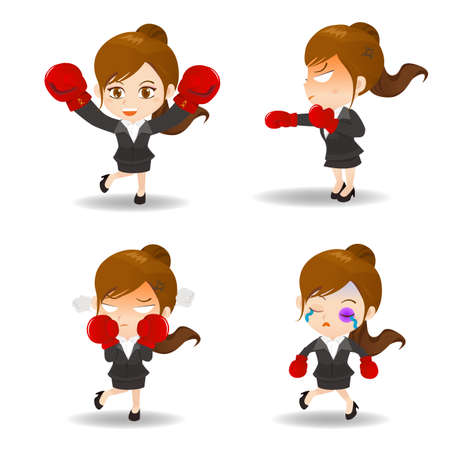 caricature woman: cartoon illustration set of Businesswoman boxing Illustration