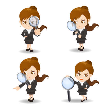 fullbody: cartoon illustration set of Business woman with magnifying glass, observation Illustration