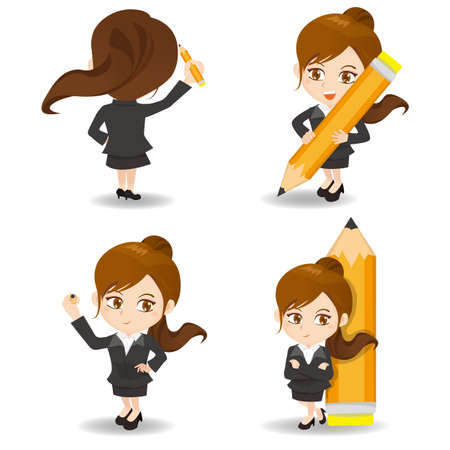 business asia: cartoon illustration set of Business woman write