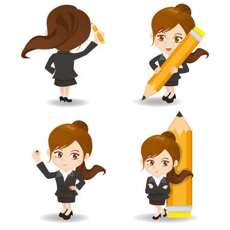 caricatura: ilustración de dibujos animados conjunto de la mujer de negocios de escritura Vectores