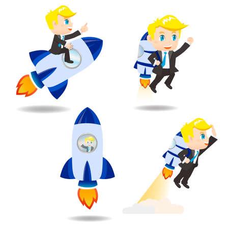 jetpack: cartoon illustration set of Business man with rocket,growth Illustration