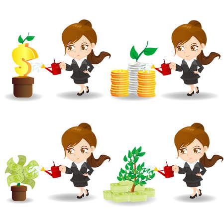 donna ricca: fumetto illustrazione set di Business donna con albero di denaro finanziario, le imprese concetto