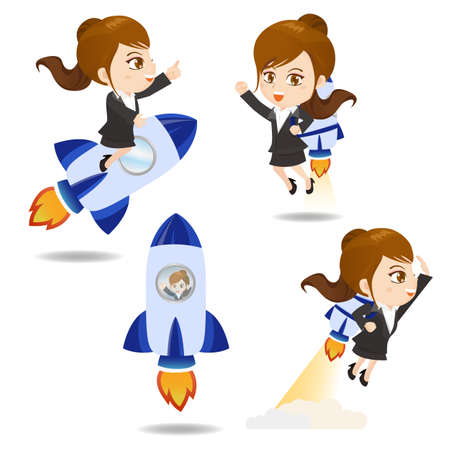 asian business people: cartoon illustration set of Business woman with rocket,growth