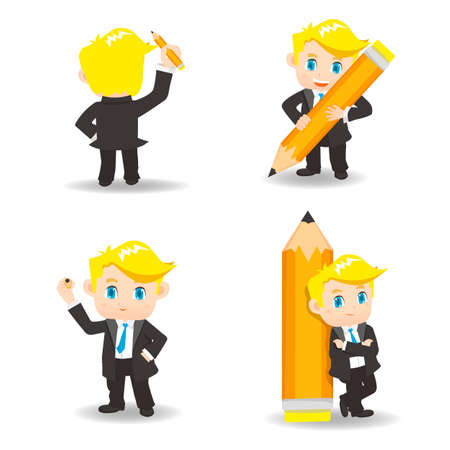 fullbody: cartoon illustration set of Business man write