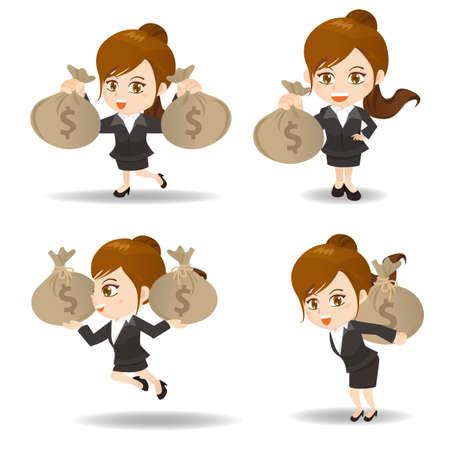 fullbody: ilustraci�n de dibujos animados conjunto de negocios con bolsa de dinero