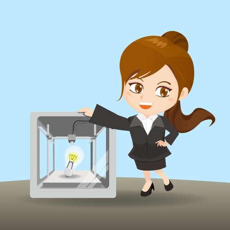 ingeniero caricatura: ilustraci�n de dibujos animados de negocios con la impresora 3D