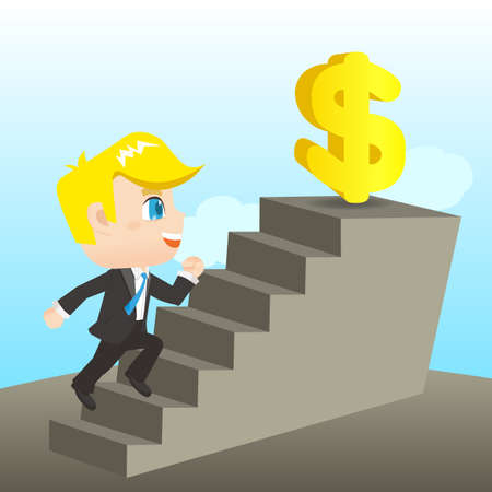 caucasian: cartoon illustration set of Business man reaching financial goal, caucasian