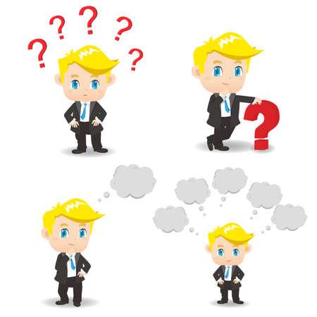 preguntando: ilustración de dibujos animados conjunto de Hombre de negocios con signo de interrogación, piensa