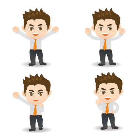 excited man: cartoon illustration set of Success and excited Business man Illustration