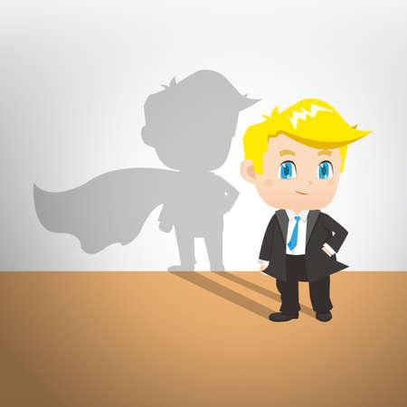 superman: cartoon illustration set of Businessman with superman shadow on the wall, caucasian Illustration