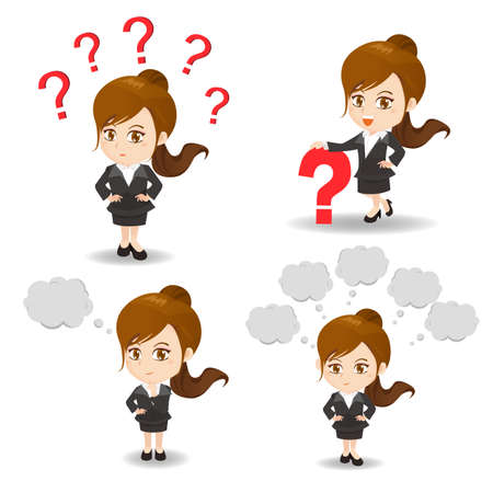 suspicious: cartoon illustration set of Business woman with question mark, think