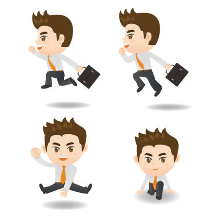 man full body: cartoon illustration set of Success and excited Business man Illustration