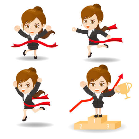 competition success: cartoon illustration set of Business woman competitive, winner, ceremony Illustration