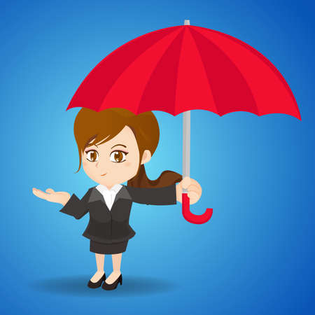 accident woman: ilustraci�n de dibujos animados conjunto de mujer de negocios con el paraguas, crisis, accidente