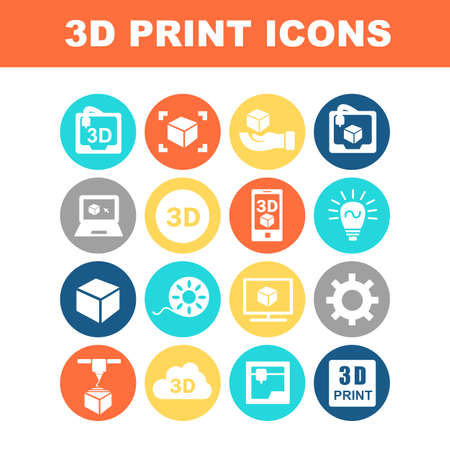 print: 3D print icon set - Flat Series