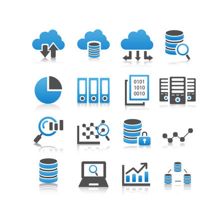protected database: Big Data icon set - flat Series
