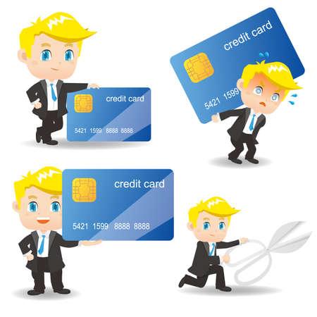 credit card debt: cartoon illustration set of Business man with credit card debt