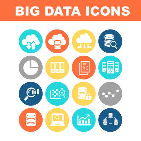 data center data centre: Big Data icon set - flat Series