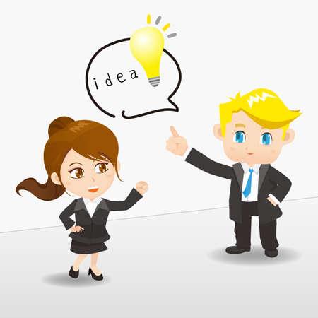 teamwork cartoon: cartoon illustration businesspeople brainstorm, think idea , teamwork
