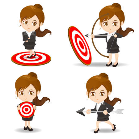 archer cartoon: cartoon illustration set of Business woman archery target