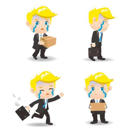 dismiss: cartoon illustration set of Business man fired,dismiss