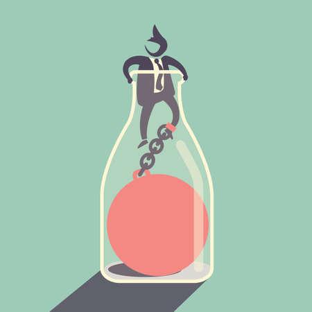 confinement: bottle neck - Business concept Illustration