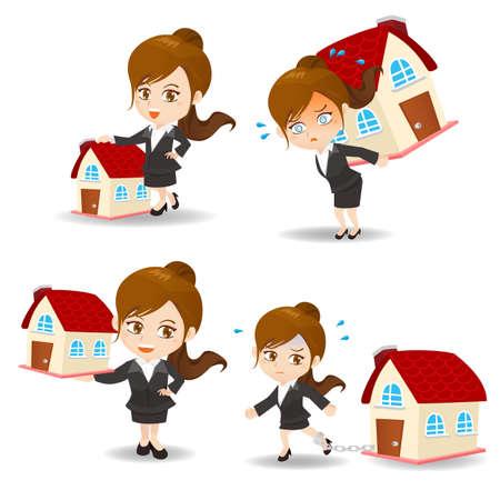 caricatura: ilustraci�n de dibujos animados conjunto de la mujer de negocios con el hogar y pr�stamo de la casa, la propiedad