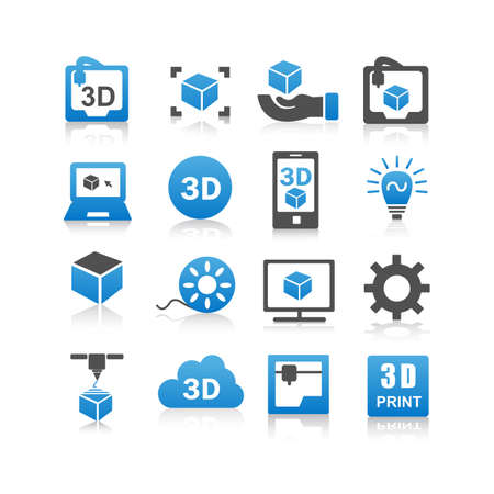 setup man: 3D print icon set - Flat Series
