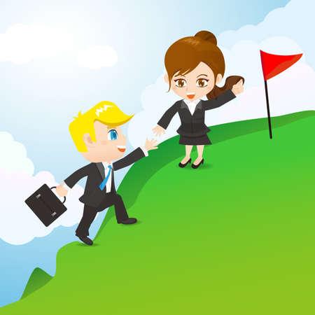monta�as caricatura: ilustraci�n de dibujos animados empresarios corporativa para llegar a la meta, el trabajo en equipo