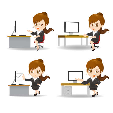 business woman: cartoon set of business woman in office