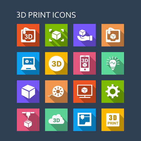 3d icons: 3D print icon set - Flat Series with long shadows Illustration