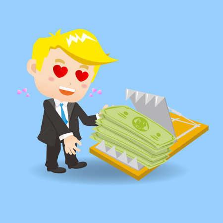 earn money: cartoon illustration set of Business man is tempted to earn money by dangerous investment, fall into the trap