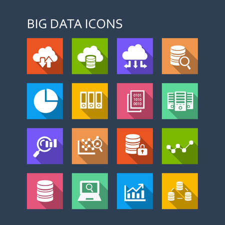 data center data centre: Big Data icon set - flat Series with long shadows