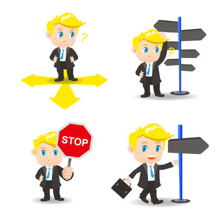 confused businessman: cartoon illustration set of Business man is choosing directions, confusion, decision.
