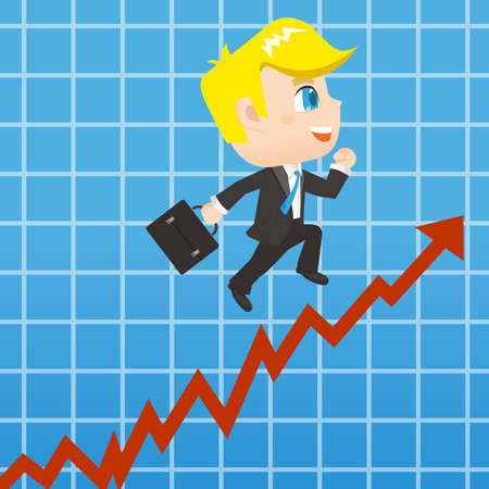 growth: growth concept - cartoon Businessman promots sales growth