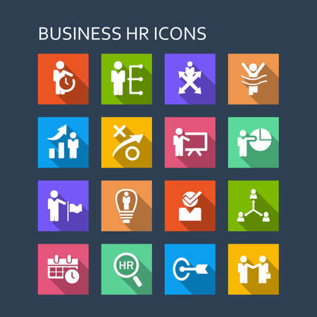 business decisions: Business human resources icon set - Flat Series with long shadows