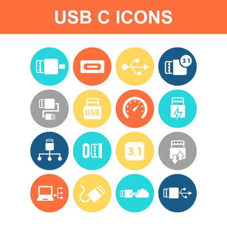 hardware store: USB 3.1 type C icon set - Flat Series