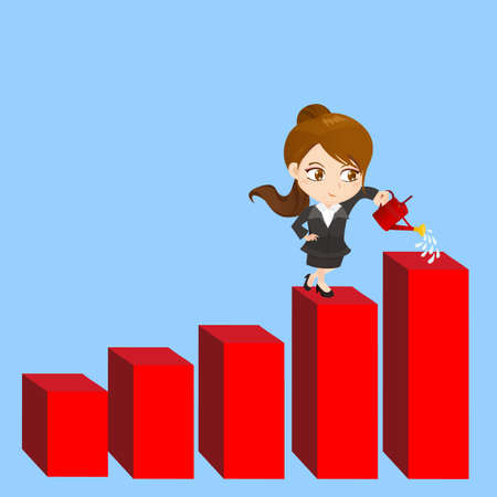 retire: cartoon illustration set of Business woman shows sale growth, gaph
