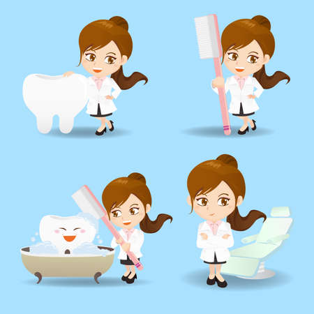 fullbody: cartoon set of doctor dentist woman in different poses.