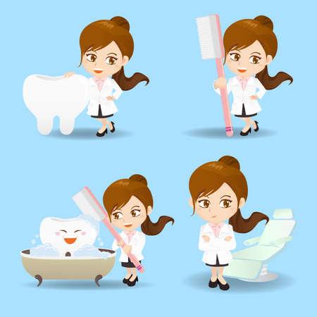 enfermera caricatura: Conjunto de la historieta de la mujer m�dico dentista en diferentes poses.