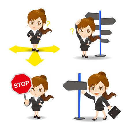 caricature woman: cartoon illustration set of Business woman is choosing directions, confusion, decision. Illustration
