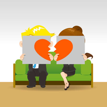 breakup: Divorce - Sad young couple holding billboard sign with break love heart, concept for divorce Illustration