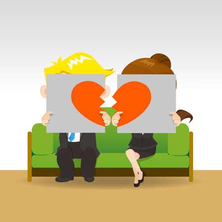 divorce: Divorce - Sad young couple holding billboard sign with break love heart, concept for divorce Illustration