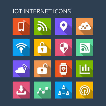 long: Internet of things icon set - Flat Series with long shadows