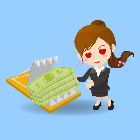 earn money: cartoon illustration set of Business woman is tempted to earn money by dangerous investment, fall into the trap Illustration