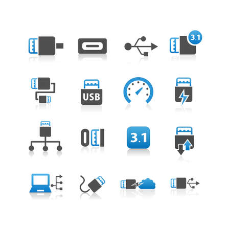 31: USB 3.1 type C icon set - Flat Series