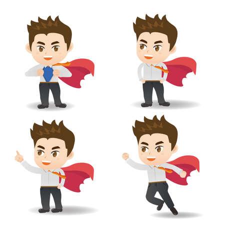 superman: Cartoon set of businessman act as superman