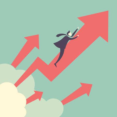 crecimiento: Crecimiento hasta concepto - hombre de negocios con flecha de crecimiento de hasta